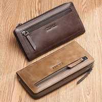 Men FALANMULE Card Holder Coin Purse Long Zipper Wallet
