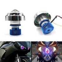 12V Motorcycle LED Hi/Lo Beam Laser Angel Evil Eyes Headlights 6 Colors
