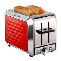 Fortune Candy KST011 2 Slices Stainless Steel Toaster for Bagel With Wide Slot Removable Crumb Tray