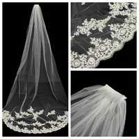 2.7M Bride White Ivory Elegant Cathedral Length Wedding Bridal Veil Comb With Lace Edge
