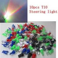 10PCS T10 1W 25LM Bulb Motorcycle Steel Ring /Instrument/Fog Lamp DC 12V Car Auto Colorful Lights