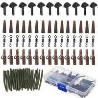 120Pcs Carp Fishing Tackle Box Lead Clips Hooks Swivels Needles Terminal Rigs Fishing Tool