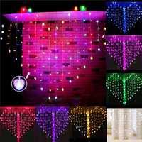 128 LED Heart-Shape Fairy String Curtain Light Valentine's Day Wedding Christmas Decor