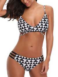 Printed Adjusted Straps Padded Mid Waist Bikini Set
