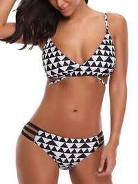 Printed Adjusted Straps Padded Mid Waist Bikini Set