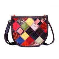 Women Vintage Patchwork Genuine Leather Shoulder Bag