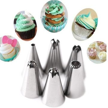 KCASA KC PN15 7pc/set Silicone Icing Piping Nozzle Cream Pastry Bag Stainless Steel Nozzle Sets Cake DIY Decorating Baking Tool