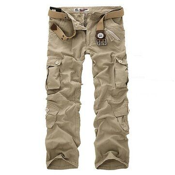 Mens Multi Pocket Military Cargo Army Work Comba Pants Trousers
