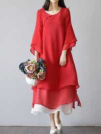 Vintage Women Cotton Linen Solid Layer 3/4 Sleeve Dress