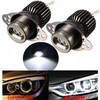 Pair 20W LED Angel Eyes Halo Ring Light Side Marker Bulb Error Free For BMW E90 E91