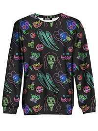 Women Halloween Skull Print Crew Neck Long Sleeve Sweatshirt