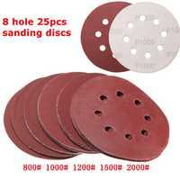 25pcs 5 Inch 8 Holes Abrasive Sanding Discs Sanding Paper 800/1000/1200/1500/2000 Grit Sand Paper