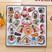 24Pcs Traditional Wooden Christmas Tree Decorations Home Hanging Toys Set