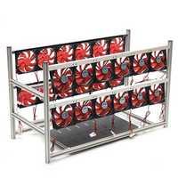 16 GPU Steel Coin Miner Mining Frame Steel Case LED Light With 24 Fans For ETH ZEC/BTB