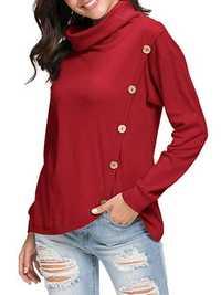 Women Pure Color Side Button Irregular Hem Sweatshirt