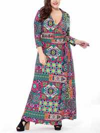Plus Size Vintage Printed V-neck 3/4 Sleeve Maxi Dress
