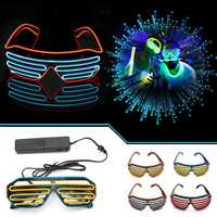 Sound Control Glasses Flash EL Wire Glasses Neon LED Light Up Shutter Glow Frame Glasses