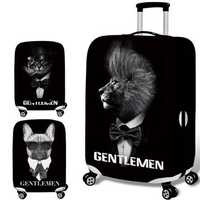 Honana 3D Cool Black Cat Lion Elastic Luggage Cover Trolley Case Cover Durable Suitcase Protector for 18-32 Inch Case Warm Travel Accessories