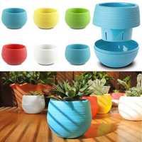 Honana HG-GP2 Colorful Cute Plant Flower Pot Mini Plastic Round Planter Garden Supplies