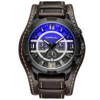 CRRJU 2142 Leather Strap Chronograph Calendar Quartz Watch