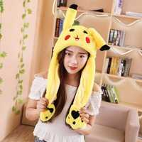 30CM Yellow Cartoon Ear Hat Can Move Airbag Cap Stuffed Plush Gift Record Video Dance Toy Neckerchief