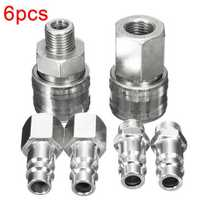 6pcs 1/4 Inch BSP FT011 Air Line Hose Compressor Fitting Connector Quick Release Male Coupler
