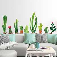 Miico Creative Cartoon Cactus PVC Removable Home Room Decorative Wall Door Decor Sticker