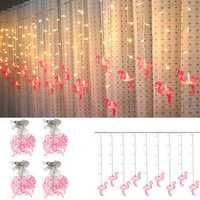 AC220V 3.5M 96 LED Flamingo String Curtain Light Fairy Lamp Wedding Indoor Home Decor EU Plug
