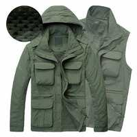 Men Outdooors Casual Multifunctional Water Repellent Windproof Quick Drying Mesh Jacket Vest