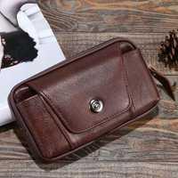 4.7-6 inch Men Genuine Leather Vintage Waist Bag Leisure Bag