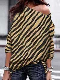Women Zebra Striped Print Off Shoulder Long Sleeve Blouse