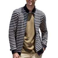 Mens Striped Autumn Stand Collar Jacket Zipper Sweaters