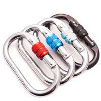 CAMNAL Rock Climbing O-Shaped Carabiner Alloy Steel 25KN Pull Screw Lock Protection