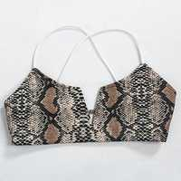 Wireless Low-cut Harness Snake Pattern Criss Cross Bra