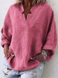 Women Solid Color V-neck Loose Blouse with Pockets
