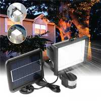 196 LED Solar Powered PIR Motion Sensor Wall Light Outdoor Garden Light Control Security Flood Lamp