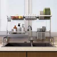Stainless Steel Kitchen Shelf Rack Drying Drain Storage Holders Plate Dish Rack Kitchen Storage Rack