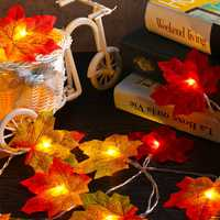 2M 20 LED Christmas Light Fall Maple Fairy String Light Autumn Leaf Lamp Garland Xmas Decor Gift