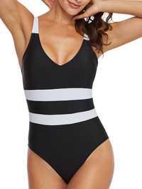 One Pieces Black And White Stripes Slim Swimwear