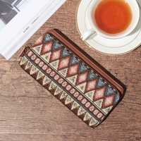 Brenice Women National Canvas RFID Zipper Long Wallet Vintage Card Holder Coin Purse