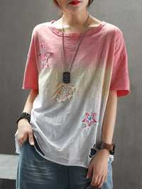 Women Gradually Discolored Pierced Embroidered T-shirts