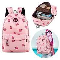 15.6 Inch Teen Girls Student Laptop Bag Pink Strawberry Handbag Travel Backpack Schoolbag