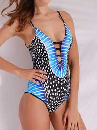 Sexy Retro Polka Dot Printed Deep Plunge Stretchy Wireless One Piece Swimwear