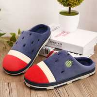 New Men Winter Home Shoes Flats Cotton Plush Keep Warm Comfortable Slipper Shoes
