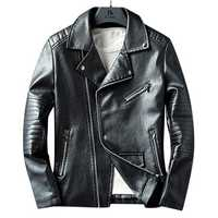 Mens Faux Leather Fashion Zipper Black Biker Jacket