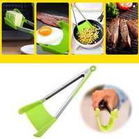 2 in 1 Stainless Steel Non Stick Heat Resistance Picnic BBQ Spatula Tongs Food Clip Outdoor Camping