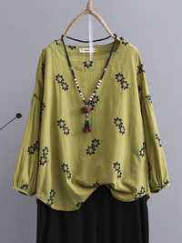 Plus Size Vintage Floral Embroidery Women Blouse