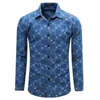 Spring Autumn Denim Printing Grid Long-sleeved Turn-down Collar Casual Men Shirt