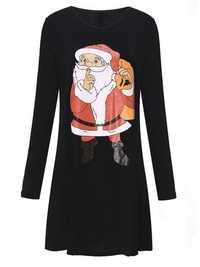 Santa Long Sleeve Casual Loose Dresses Christmas Swing Dresses
