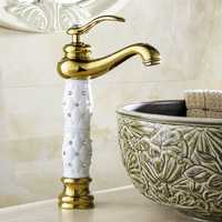 WANFAN 814K Home Bathroom Luxurious Gold Diamond Cystal Single Handle Hot and Cold Water Basin Faucet